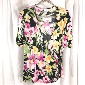 Pretty Florals Wrap Top, Size XL